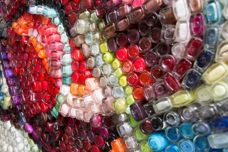 See how this artist created artwork from used nail polish bottles
