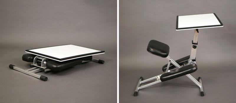 The Edge, a foldable ergonomic desk/chair/easel combo.