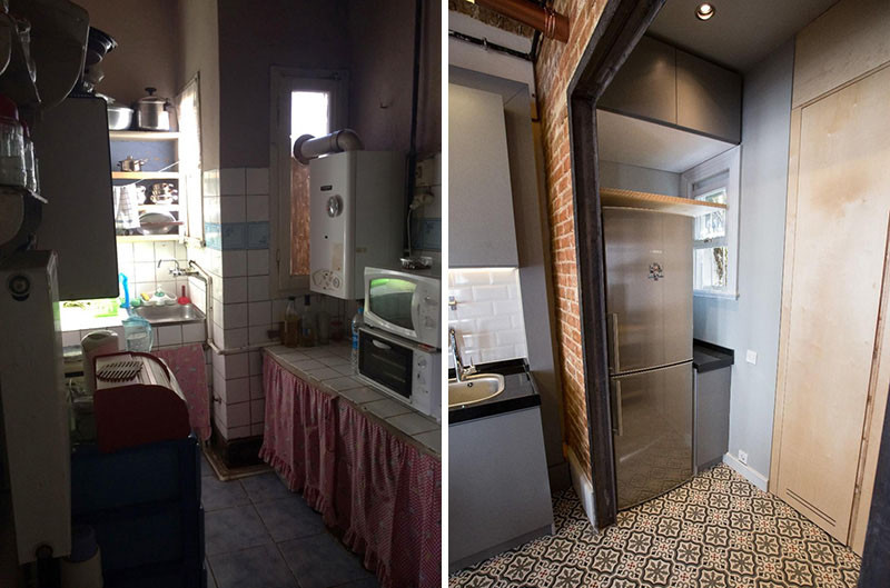 Before & After - This apartment in a historical building received a major upgrade