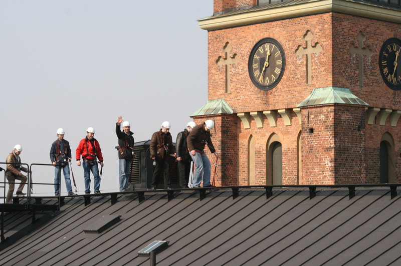 You can climb on the rooftops and see Stockholm from above