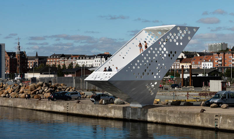 Salling Tower, located in the City of Aarhus, Denmark, and designed by Dorte Mandrup Arkitekter