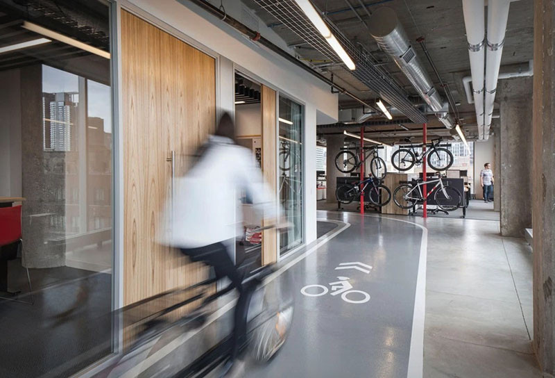 This is a bike-lovers dream office to work in