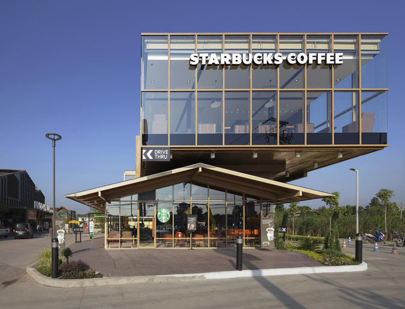 This new Starbucks is built like a glass box sitting on a house