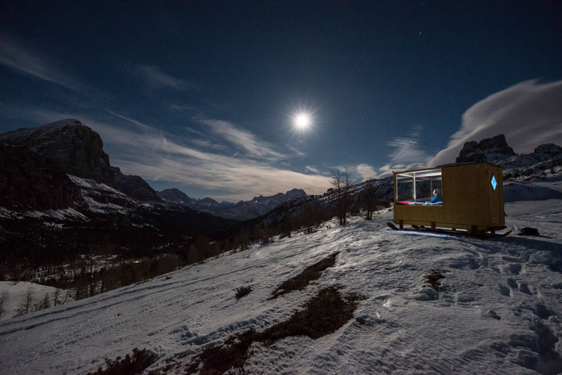 In the middle of the Dolomite Mountains, you can stay under the stars in the Starlight Room