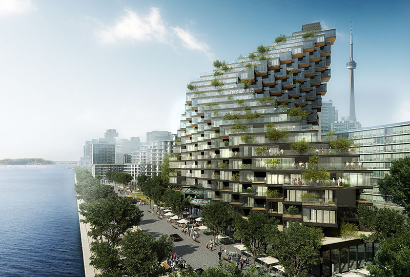 A twisted building full of terraces has been proposed for Toronto's waterfront