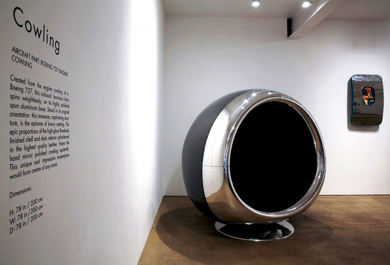 This chair is made from a 737 BOEING engine cover