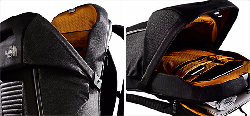 This backpack has a spring loaded lid instead of zippers
