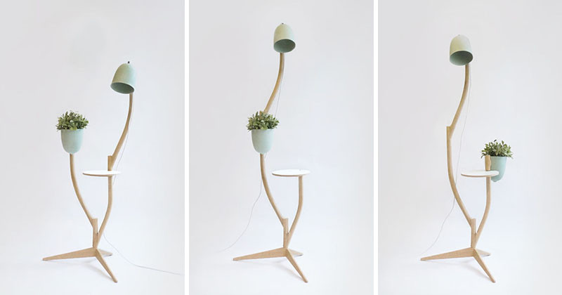 This whimsical piece of furniture is a lamp, table and flowerpot in one