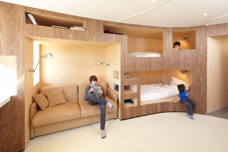 Fancy This curved built in bunk bed from an apartment in Menuires France