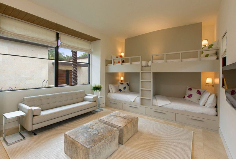 Lovely  examples of bedrooms with built in bunk beds