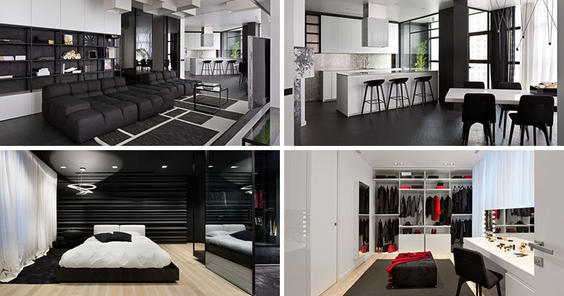 This black and white apartment was designed for a couple that loves to party