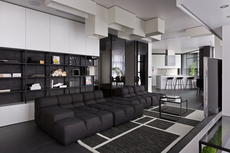 Black and White Apartment, designed by Lera Katasonova