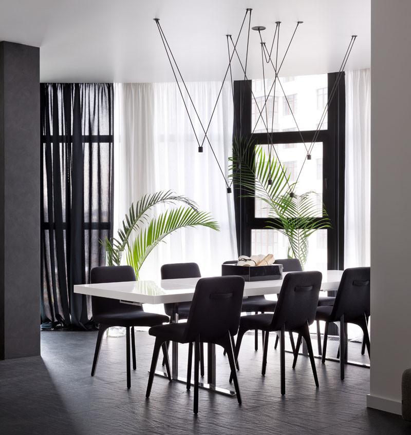 Black and White Apartment, designed by Lera Katasonova