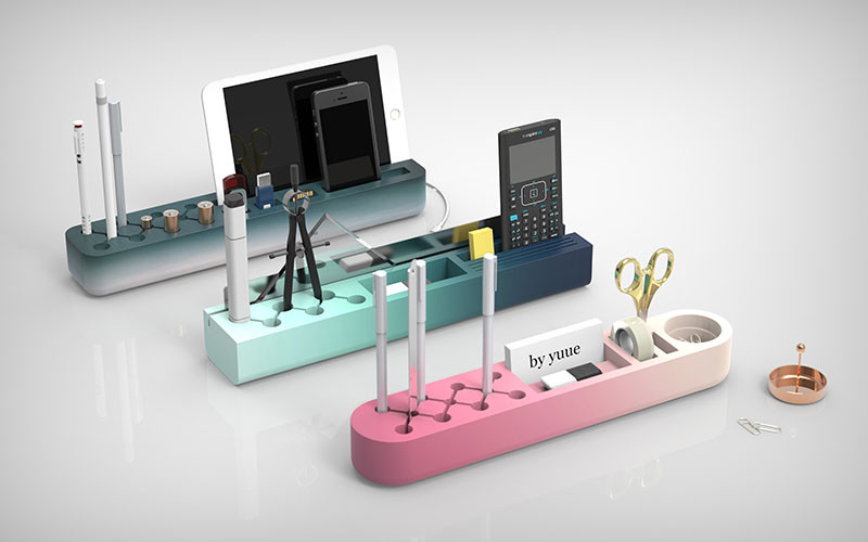 A Desk Organizer For Color Gradient Lovers