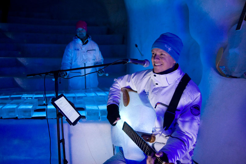 There is a guy in Sweden that makes instruments out of ice, and puts on concerts in an ingloo.