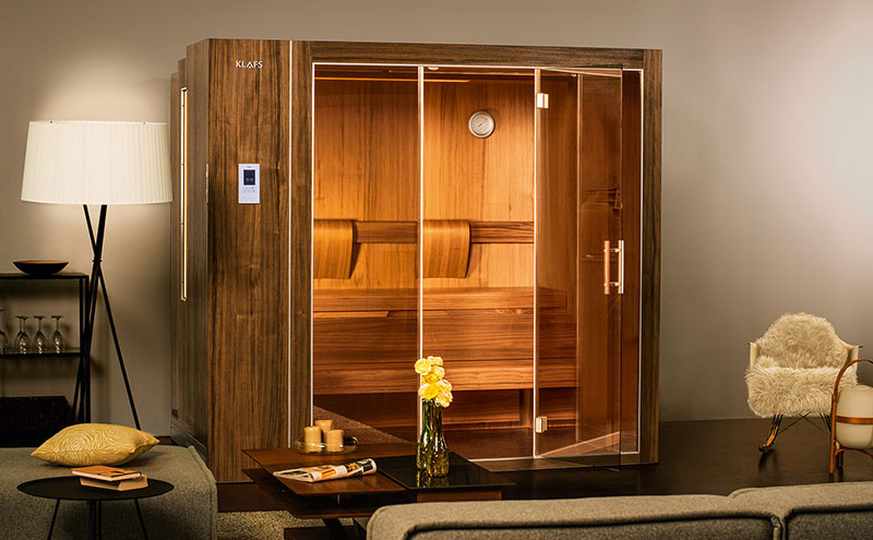these saunas expand and contract so they can fit into smaller homes contemporist. Black Bedroom Furniture Sets. Home Design Ideas