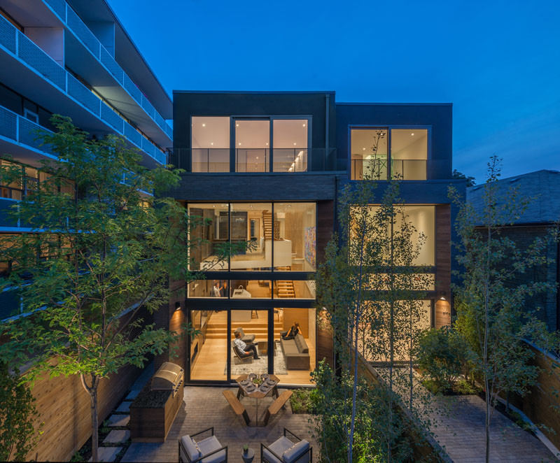 This home in Toronto, Canada, has a split level main floor.