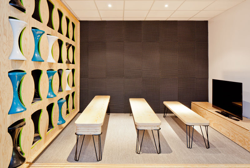Stool Storage at the Ekimetrics.02's offices in Paris, France. Designed by Vincent & Gloria Architectes