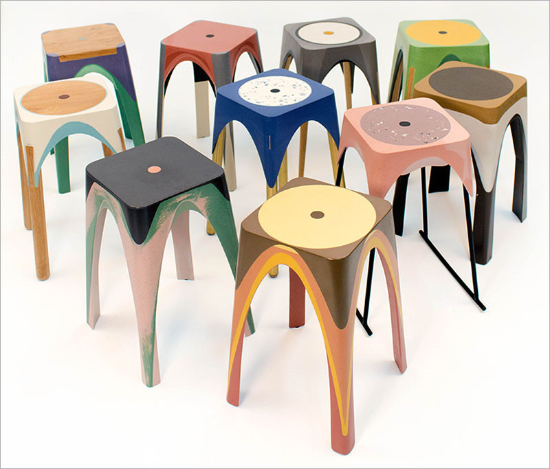 See how these colourful resin stools are made