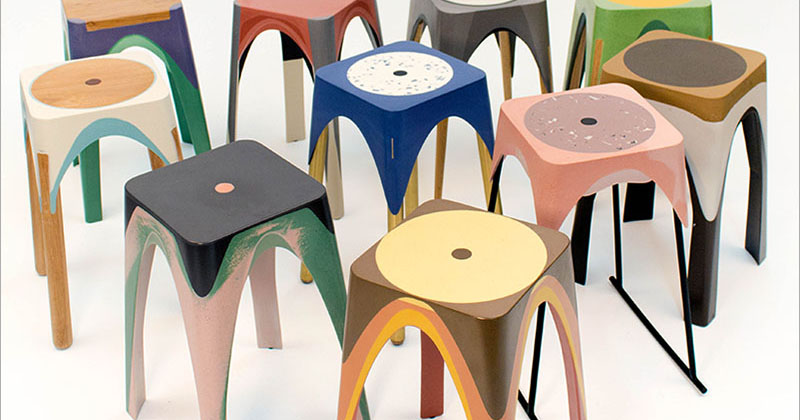 See how these colorful resin stools are made