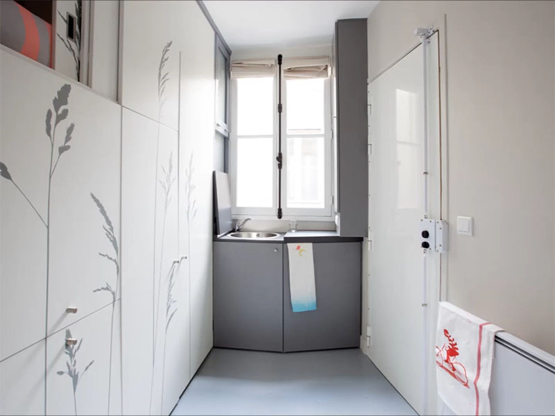 See how this tiny 86 square foot room was renovated into an apartment with everything you need