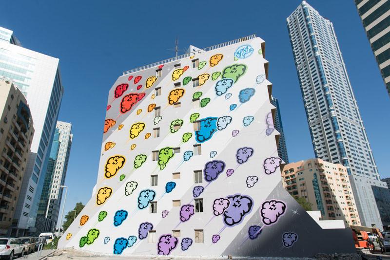 Colourful mural in Sharjah, UAE, by MYNEANDYOURS