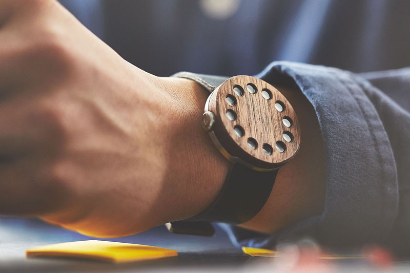 A modern wood walnut watch with a leather strap. #ModenWoodWatches #Style #WoodWatches #Watches