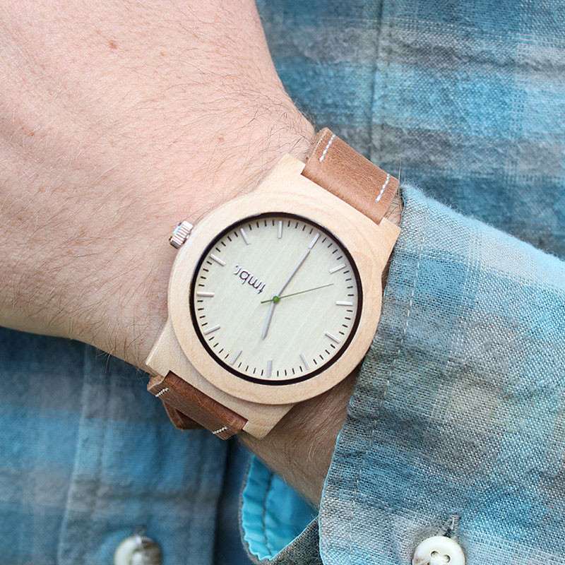 A modern maple wood and leather watch. #ModenWoodWatches #Style #WoodWatches #Watches