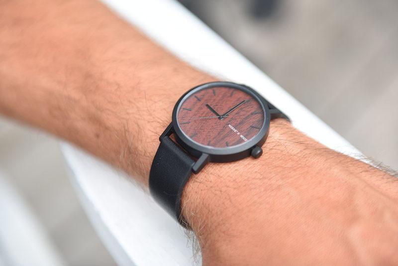 A modern watch with a walnut wood grain face. #ModenWoodWatches #Style #WoodWatches #Watches