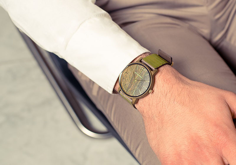 A modern wood watch made from green sandalwood with gold metal. #ModenWoodWatches #Style #WoodWatches #Watches