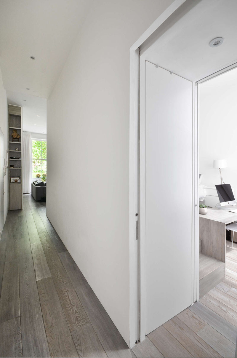 Thoughtfully designed custom-cabinetry is featured throughout this apartment.