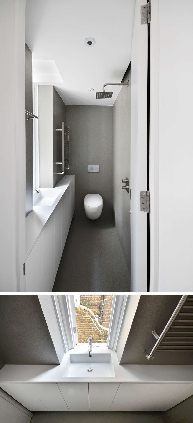 The bathroom in this London apartment is small and very long, so they had to position the shower head directly opposite the vanity and sink.