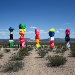 Stacks of colorful rocks have appeared in the desert near Las Vegas