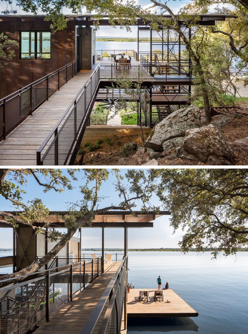 This home in Marble Falls, Texas is all about the water views. As the home is quite tall, living spaces are all on the the top floor, set just above the tree line and providing nearly a 180 degree view of the lake beyond. // Blue Lake Retreat by Lake|Flato Architects
