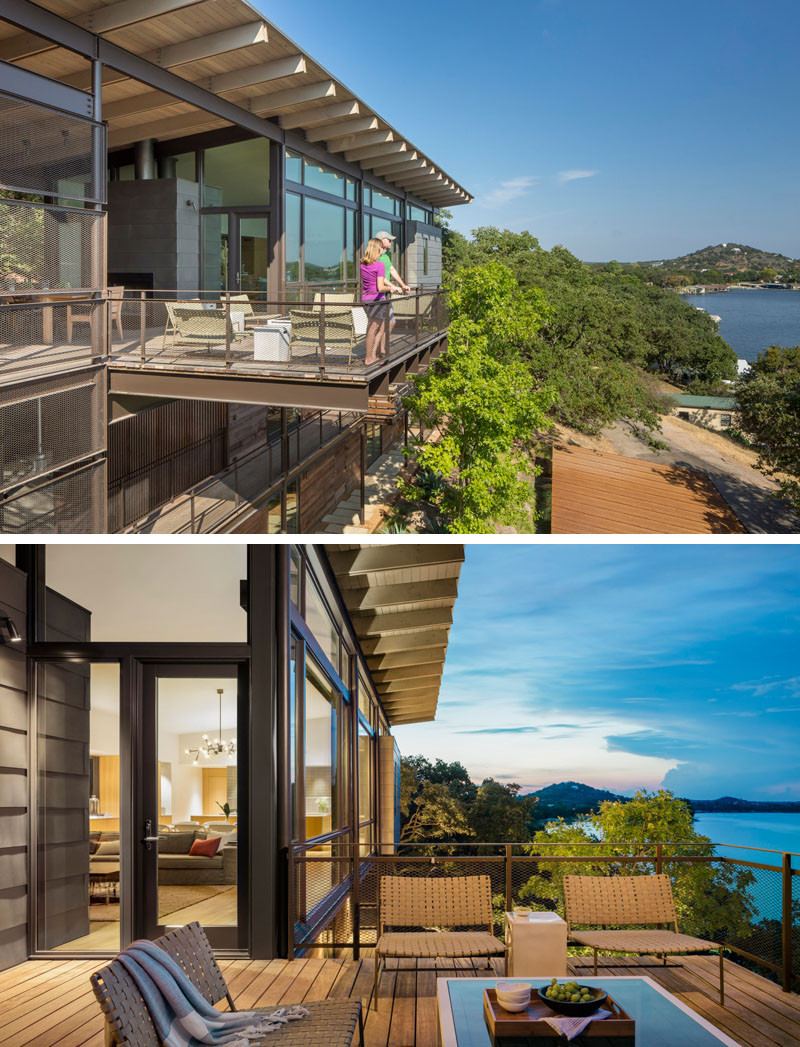 The home has no shortage of views of water views from its deck. // Blue Lake Retreat by Lake|Flato Architects