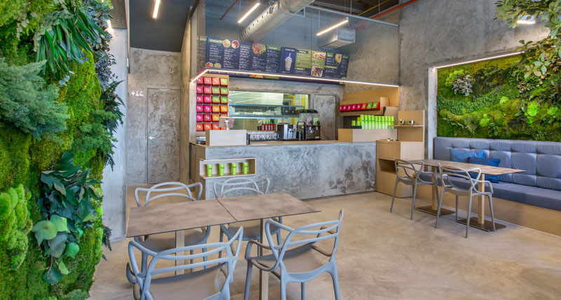 all of the wall and floors in the space have been made with polished concrete