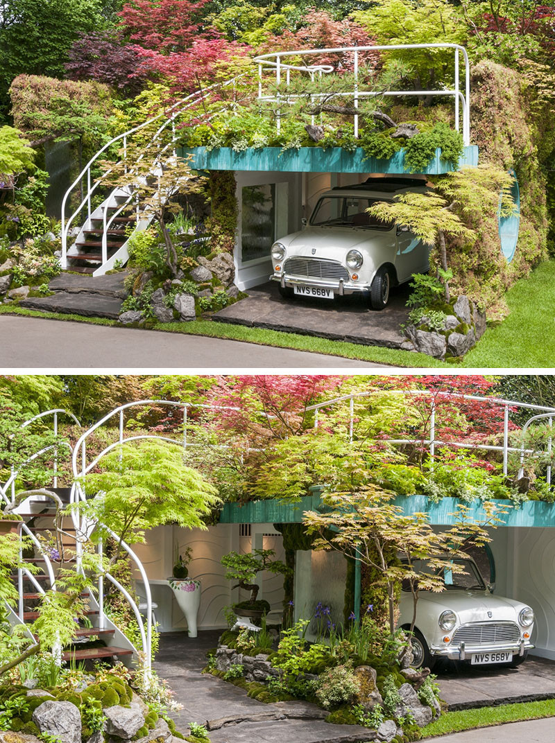 12 Inspirational Garden Designs From The 2016 Chelsea Flower Show // Senri-Sentei – Garage Garden, designed by Kazuyuki Ishihara.
