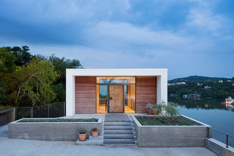 This home is neatly tucked away into the side of a cliff