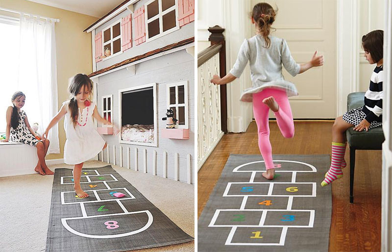 This grey and white rug with colorful numbers does double duty as a Hopscotch game. #KidsRug #ColorfulRug #ModernRug #NurseryRug