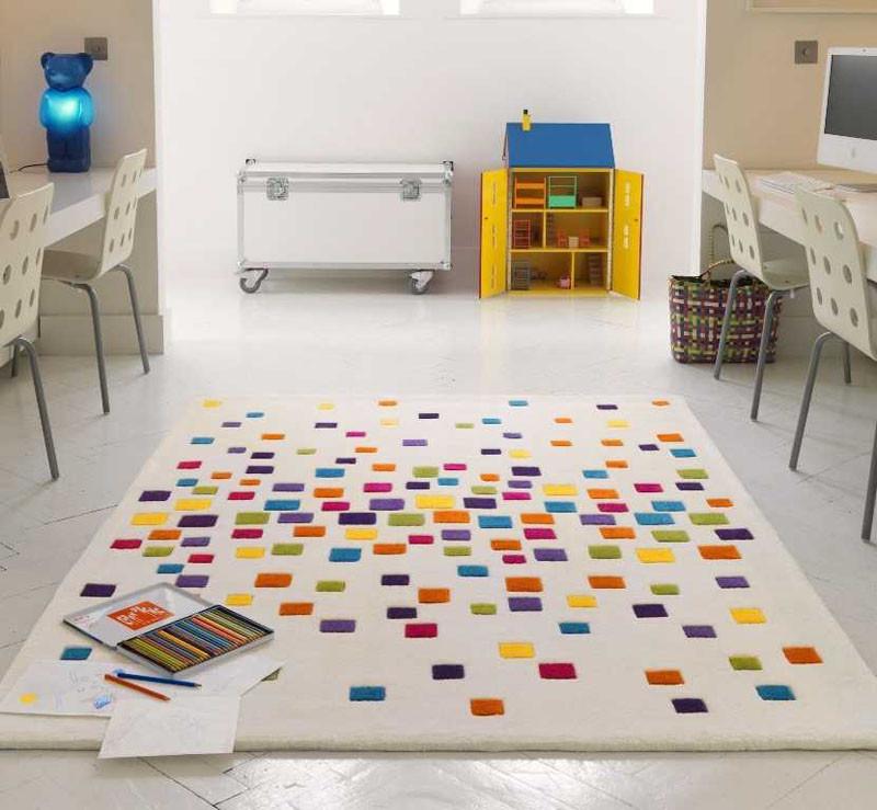 This rug adds a sprinkle of color. #KidsRug #ColorfulRug #ModernRug #NurseryRug