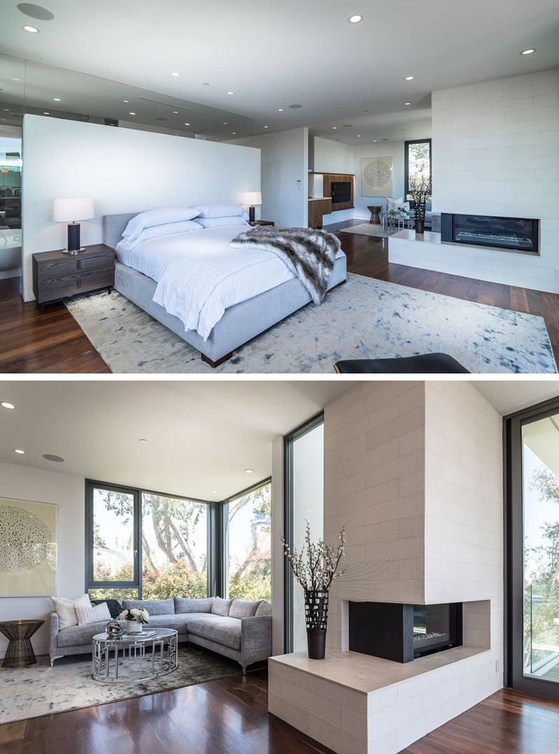 This master bedroom has its own dedicated private living room and a fireplace.