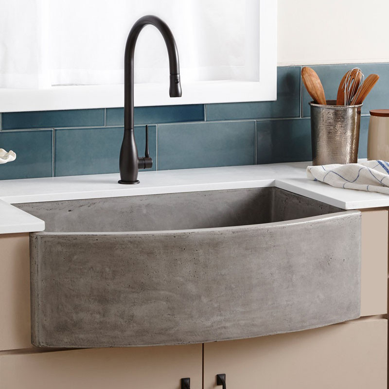 Beautiful This farmhouse sink made from NativeStone a bination of jute fiber and cement adds a concrete touch to your kitchen
