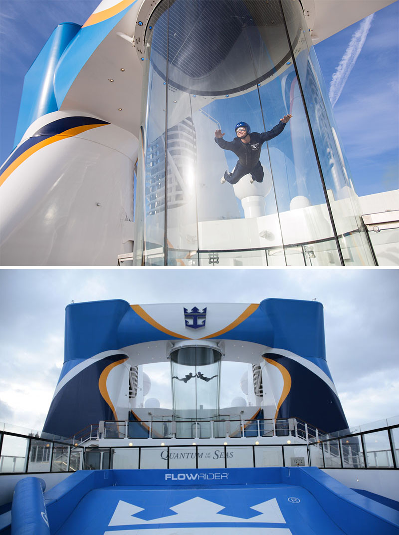 20 Of The Craziest Things You'll Find On Cruise Ships! // RipCord by iFly on Royal Caribbean's Quantum of the Seas, lets you feel what it would be like to fly by blowing air at 100mph from underneath you.