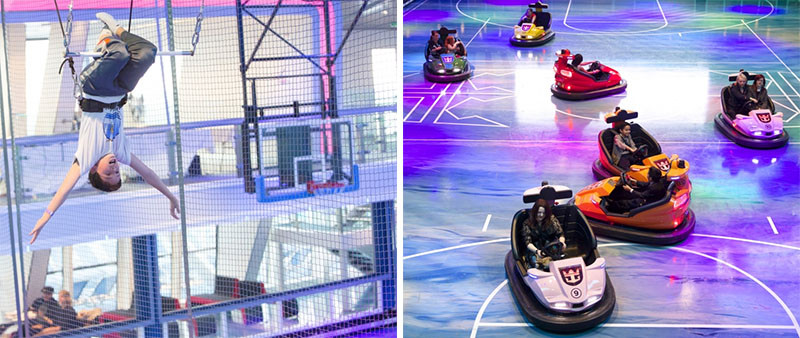 20 Of The Craziest Things You'll Find On Cruise Ships! // This multipurpose activity room on Royal Caribbean's Anthem Of The Seas, can be used as a bumper car arena, circus school, a roller skating rink or a gym.