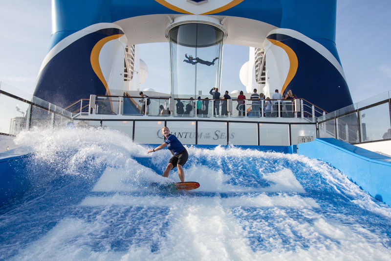 20 Of The Craziest Things You'll Find On Cruise Ships! // Catch a wave without leaving Royal Caribbean's Anthem Of The Seas on this surf simulator.