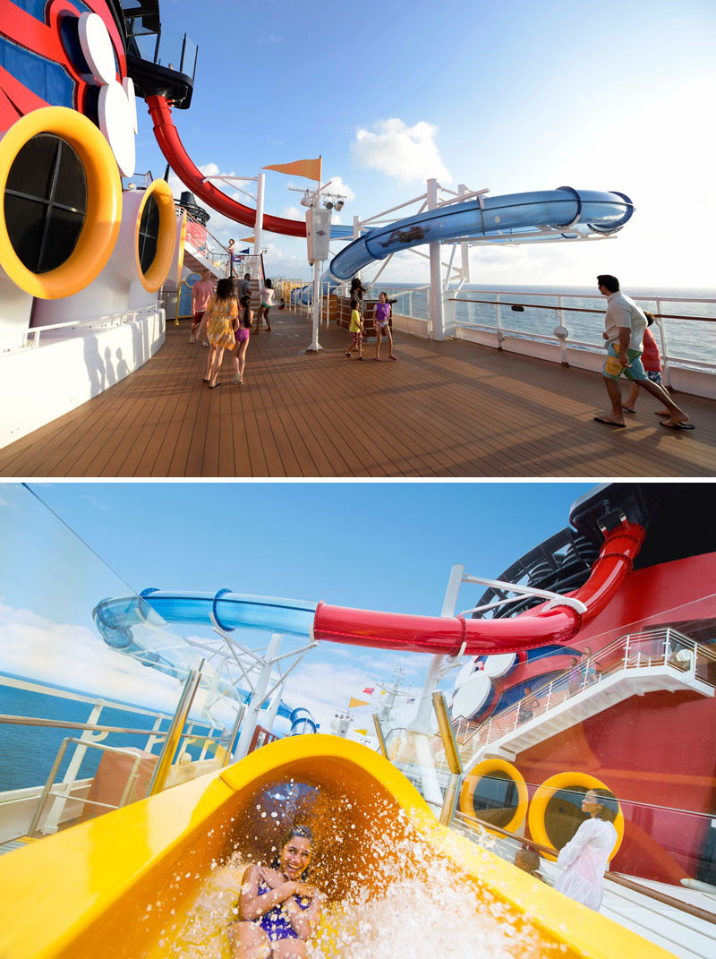 20 Of The Craziest Things You'll Find On Cruise Ships! // The AquaDunk aboard the Disney Magic cruise ship is a three story high water slide that starts with the floor dropping out from underneath you and sends you racing down a 212 foot clear tube twisting and turning as it goes.