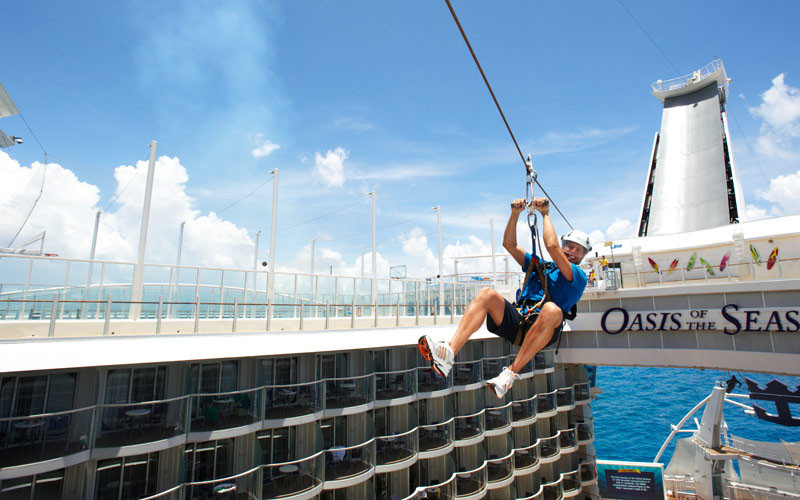 20 Of The Craziest Things You'll Find On Cruise Ships! // Take an adrenaline filled trip 82 feet across and 9 decks above the boardwalk. You can find it on Royal Caribbean's Oasis of the Seas.