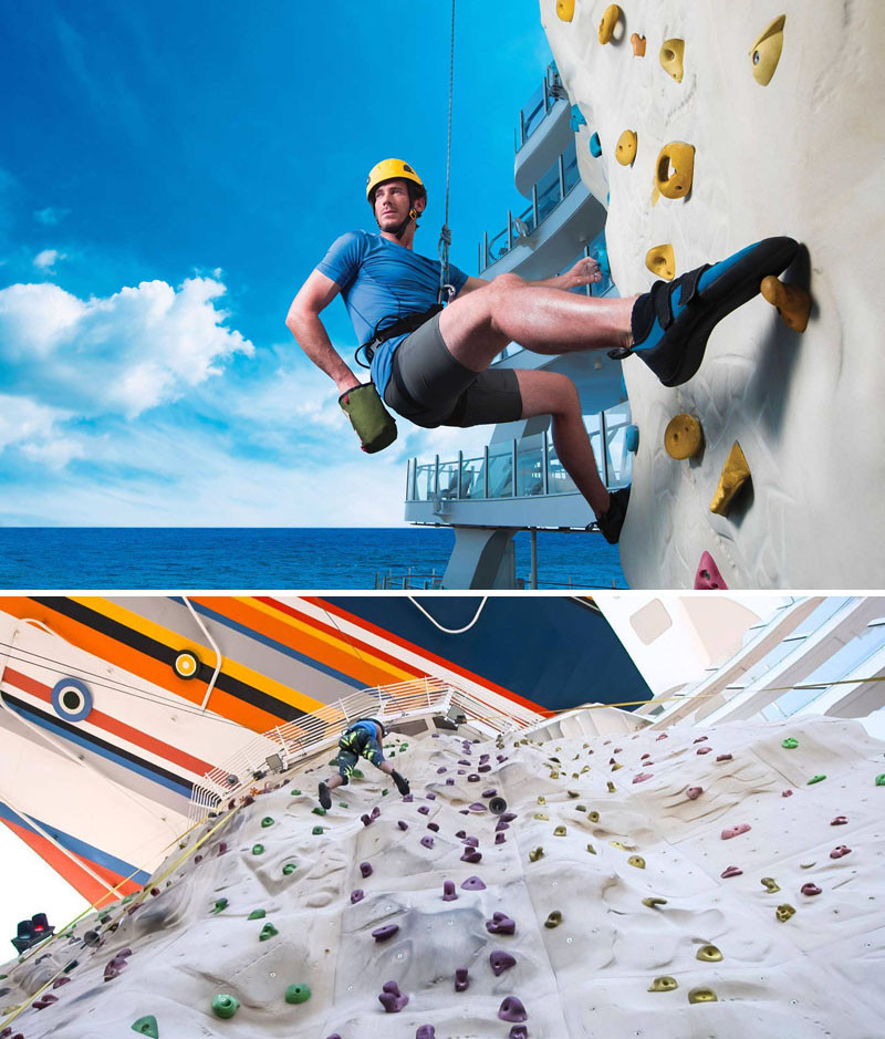 20 Of The Craziest Things You'll Find On Cruise Ships! // Go rock climbing in the middle of the ocean on the world's largest cruise ship, Royal Caribbean's Harmony of the Seas.