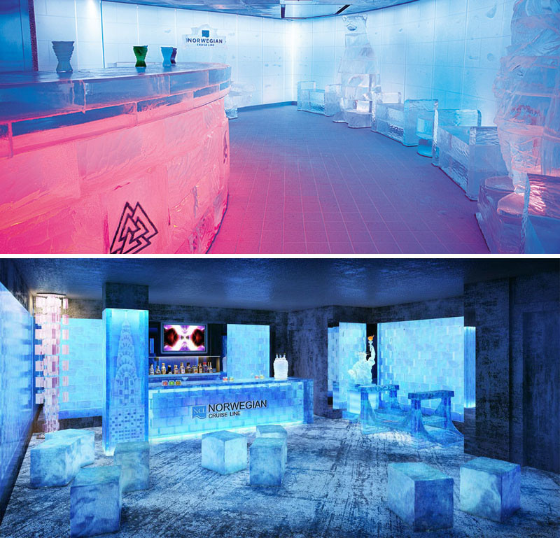 20 Of The Craziest Things You'll Find On Cruise Ships! // Chill out in the ice bar aboard the Norwegian cruise ships.