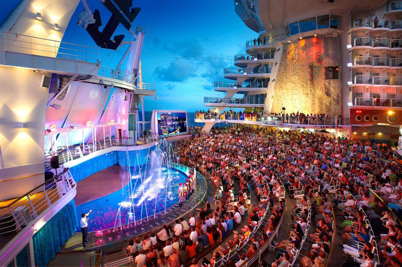 20 Of The Craziest Things You'll Find On Cruise Ships! // Hold your breathe as you watch divers plummet 30 feet down into the deepest pool at sea on Oasis ships by Royal Caribbean.